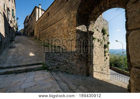 Volterra, Tuscany - May 21, 2017 - The Door And The Source Of San Felice