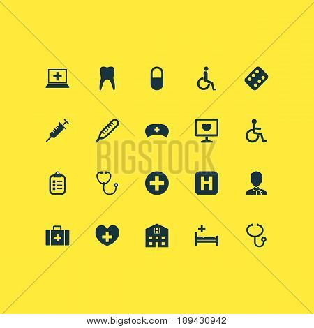 Antibiotic Icons Set. Collection Of Disabled, Peck, Retreat And Other Elements. Also Includes Symbols Such As Medical, Diagnostics, Wheelchair.