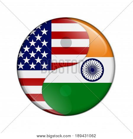 USA and India working together The US flag and Indian flag on a yin yang symbol isolated over white 3D Illustration