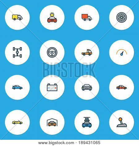 Automobile Colorful Outline Icons Set. Collection Of Car, Rudder, Van And Other Elements. Also Includes Symbols Such As Mover, Automatic, Track.