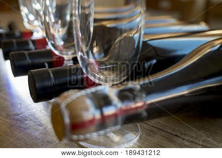 degustation of red wine in a cellar with glass flutes