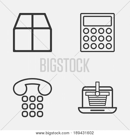 E-Commerce Icons Set. Collection Of Calculator, Callcentre, E-Trade And Other Elements. Also Includes Symbols Such As Cardboard, Tool, Parcel.