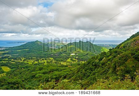 View of Oahu island from Pali lookout, Hawaii