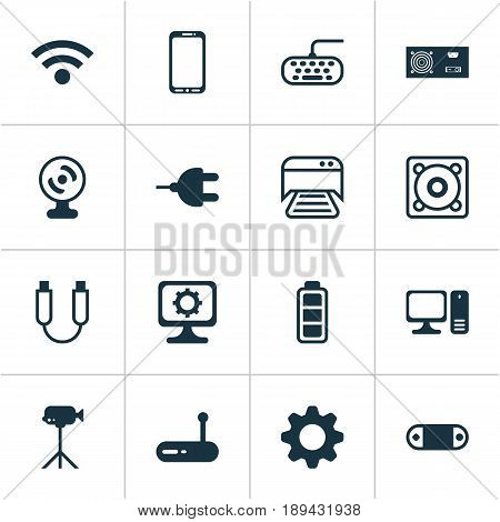 Computer Icons Set. Collection Of Portable Memory, Desktop Computer, Web Camera And Other Elements. Also Includes Symbols Such As Battery, Accumulator, Keypad.