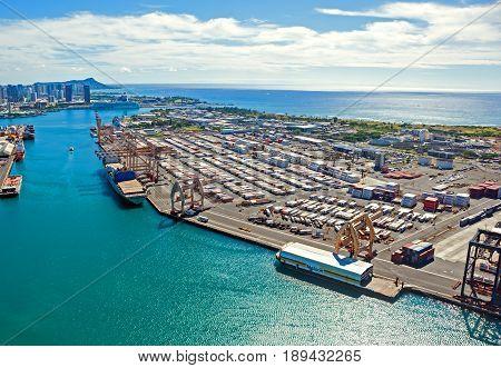 Honolulu, Hawaii - December 5, 2013: aerial view of the seaport in Honolulu