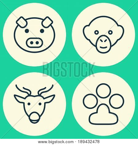 Zoology Icons Set. Collection Of Piglet, Claw Print, Moose And Other Elements. Also Includes Symbols Such As Print, Paw, Reindeer.
