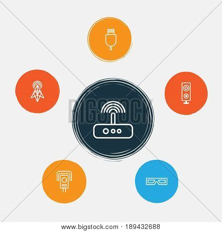Device Icons Set. Collection Of Wireless Router, Universal Serial Bus, Security Camera And Other Elements. Also Includes Symbols Such As Usb, Megaphone, Cable.