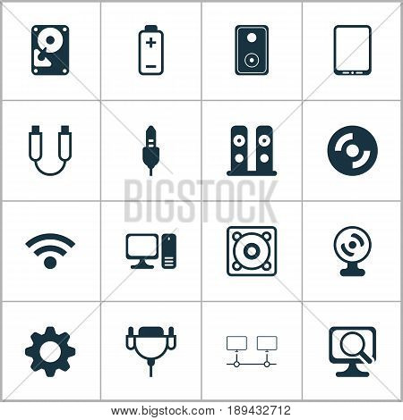 Hardware Icons Set. Collection Of Laptop, Connected Devices, Blank Cd And Other Elements. Also Includes Symbols Such As Stereo, Web, Phone.