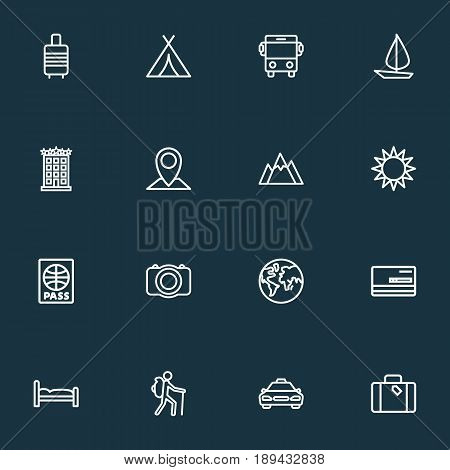 Journey Outline Icons Set. Collection Of Bedstead, Taxi, Building And Other Elements. Also Includes Symbols Such As Location, Sun, Diploma.