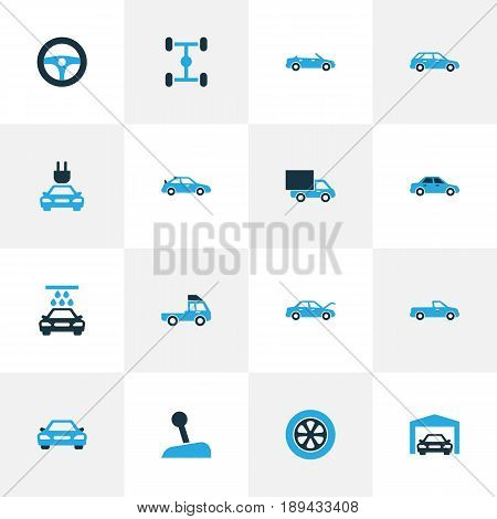 Automobile Colorful Icons Set. Collection Of Gear Lever, Car, Truck And Other Elements. Also Includes Symbols Such As Water, Wash, Car.
