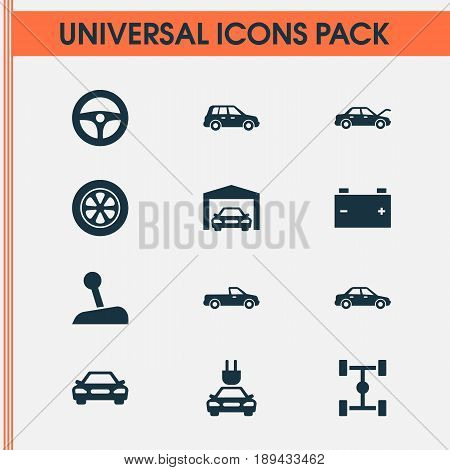Auto Icons Set. Collection Of Drive Control, Automobile, Fixing And Other Elements. Also Includes Symbols Such As Gear, Fixing, Wheelbase.
