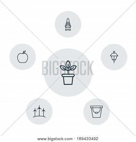 Gardening Icons Set. Collection Of Pail, Dwarf, Lantern And Other Elements. Also Includes Symbols Such As Dwarf, Power, Flower.