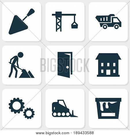 Construction Icons Set. Collection Of Cogwheel, Tractor, Maintenance And Other Elements. Also Includes Symbols Such As Bulldozer, Home, Construction.