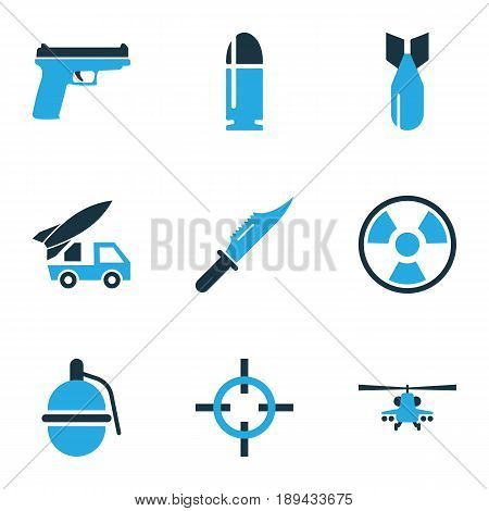 Warfare Colorful Icons Set. Collection Of Bullet, Knife, Helicopter And Other Elements. Also Includes Symbols Such As Target, Fighter, Firearm.