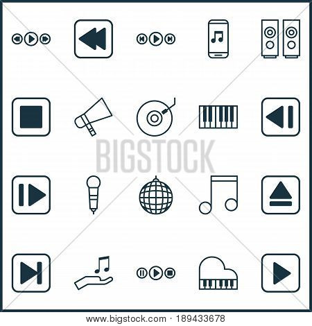 Music Icons Set. Collection Of Start Song, Octave, Following Music And Other Elements. Also Includes Symbols Such As Melody, Bullhorn, Extract.