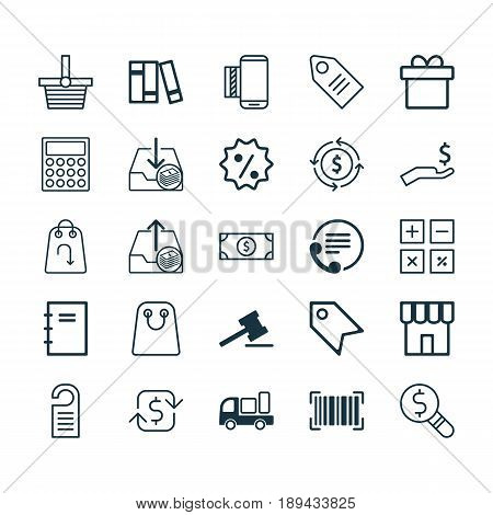 E-Commerce Icons Set. Collection Of Present, Tote Bag, Price And Other Elements. Also Includes Symbols Such As Label, Gift, Finance.