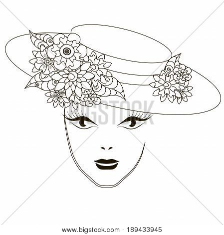 Monochrome beautiful girl in hat with flowers, coloring pages anti-stress stock vector illustration