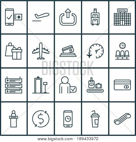 Traveling Icons Set. Collection Of Drink Cup, Shopping, Call Duration And Other Elements. Also Includes Symbols Such As Service, Traveller, Globetrotter.