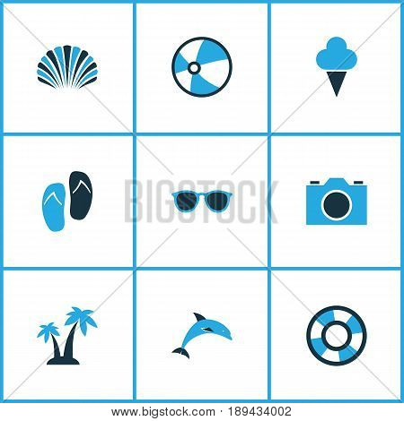 Season Colorful Icons Set. Collection Of Flip Flop, Lifebuoy, Ball And Other Elements. Also Includes Symbols Such As Dolphin, Sunshades, Lifebuoy.