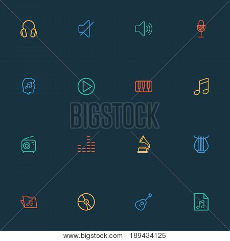 Multimedia Outline Icons Set. Collection Of Plastic, Soundtrack, Cover And Other Elements. Also Includes Symbols Such As Headphone, Strings, Dj.