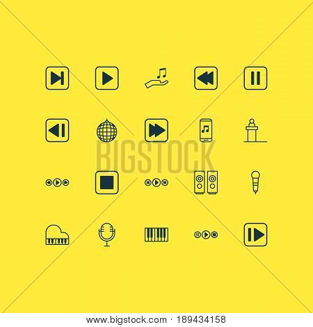 Audio Icons Set. Collection Of Song UI, Microphone, Following Song And Other Elements. Also Includes Symbols Such As Speakers, Pause, Backward.
