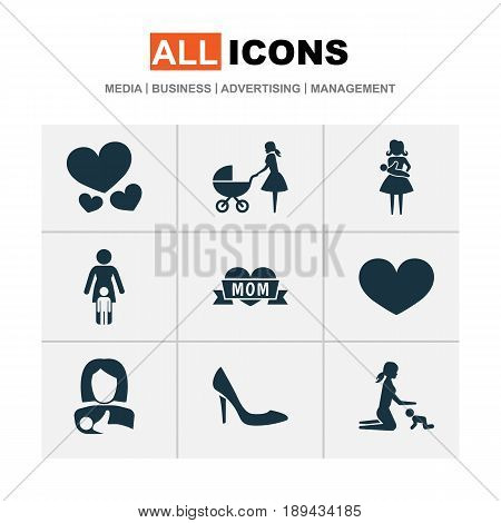 Mothers Day Icon Design Concept. Set Of 9 Such Elements As Relations, Mother And Stiletto. Beautiful Symbols For Heart, Mom And Baby.