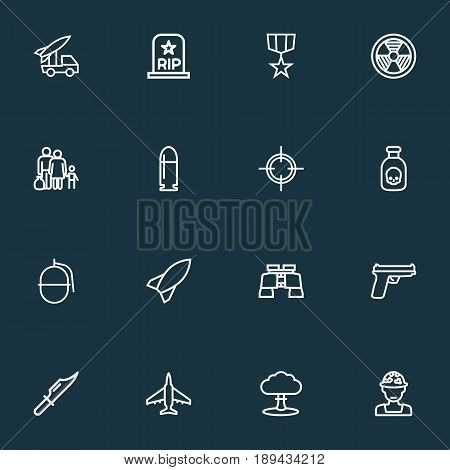 Army Outline Icons Set. Collection Of Rip, Bomb, Cutter And Other Elements. Also Includes Symbols Such As Medal, People, Grenade.
