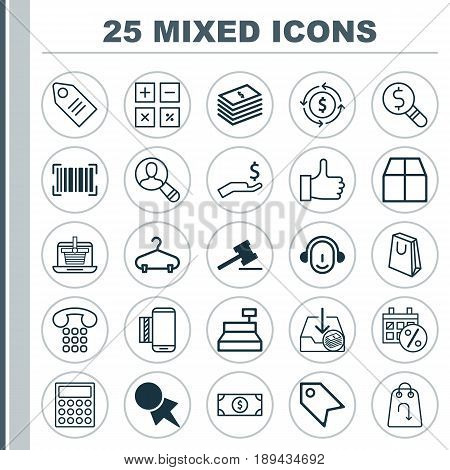 Commerce Icons Set. Collection Of Spectator, Price Stamp, Business Inspection And Other Elements. Also Includes Symbols Such As Money, Wealth, Purchase.
