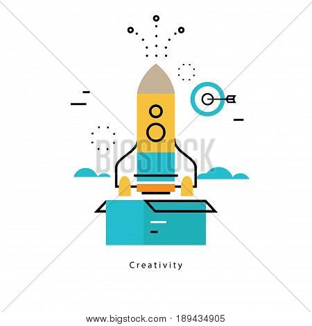 Thinking outside the box flat business vector illustration design banner. Creative thinking, idea launching, education, research, trainings, courses, tutorials. Design for mobile and web graphics