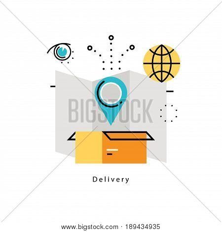 Delivery services, transportation, cargo shipment flat vector illustration design. Worldwide delivery, delivery tracking design for mobile and web graphics