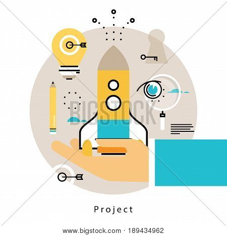 Project startup flat vector illustration design. Project management, launching, implementation design for mobile and web graphics