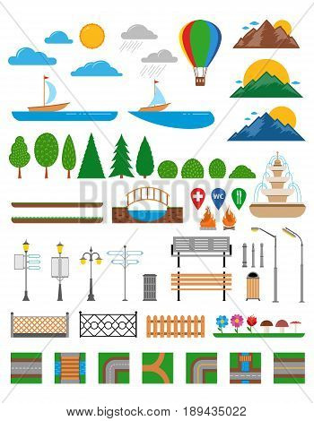 Vector Nature, Landscapes, Parks And Outdoor Design Elements