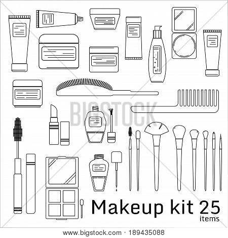 Makeup kit. Cosmetic set. 25 items in thin line flat style. Vector illustration