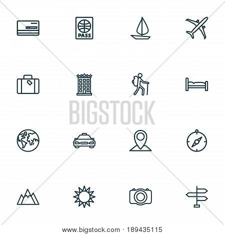 Journey Outline Icons Set. Collection Of Earth, Bedstead, Building And Other Elements. Also Includes Symbols Such As Building, Hill, Furniture.