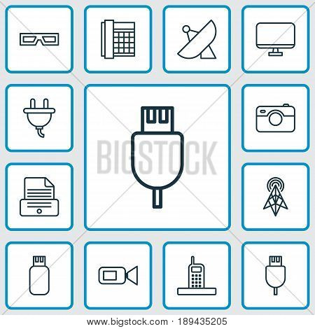 Hardware Icons Set. Collection Of Call, Usb, Socket And Other Elements. Also Includes Symbols Such As Plug, Signal, Antenna.