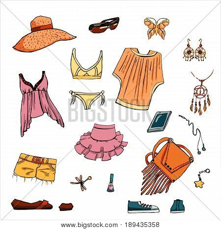 Summer look in sketch hand-drawing style. Set of various clothing items and accessories. Perfect for design signage sales, shopping bags, postcards, posters and illustrations in magazines.