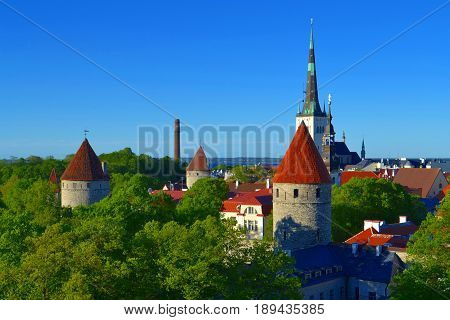 Tallinn Estonia old town view of cityscape.