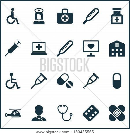 Antibiotic Icons Set. Collection Of Diagnosis, Surgical Bag, Nanny And Other Elements. Also Includes Symbols Such As Help, Peck, Aid.