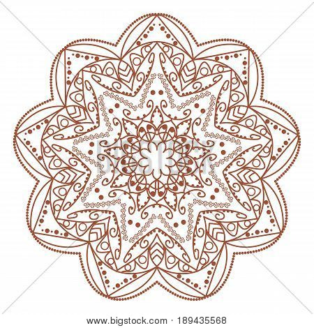 Lace ornament, round ornamental natural doily pattern, mandala, henna tattoo doodle elements, adult coloring book trend