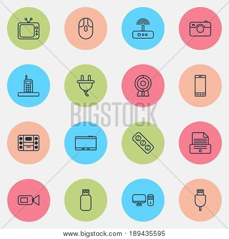 Device Icons Set. Collection Of Cursor Mouse, Personal Computer, Telephone And Other Elements. Also Includes Symbols Such As Web, Apparatus, Boombox.