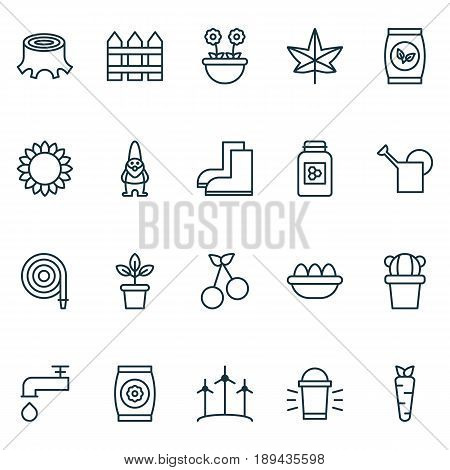 Gardening Icons Set. Collection Of Fertilizer, Ovum, Flowerpot And Other Elements. Also Includes Symbols Such As Egg, Berry, Park.