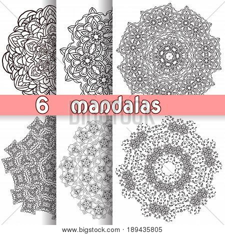Set of six lace ornament, round ornamental natural doily pattern, mandala, adult coloring book trend