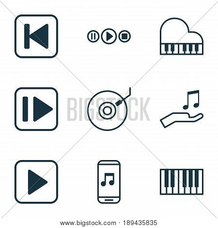 Music Icons Set. Collection Of Run Song Back, Octave, Start Song And Other Elements. Also Includes Symbols Such As App, Gramophone, Play.