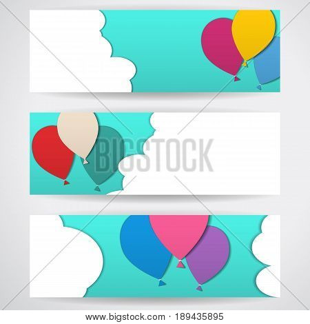 Three templates of horizontal banners. Illustration with flying balloons in a blue sky amidst white clouds. Style of application, figures cut from paper, stickers