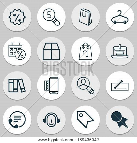 E-Commerce Icons Set. Collection Of Handbag, Business Inspection, Cardboard Elements. Also Includes Symbols Such As Day, Paper, Discover.