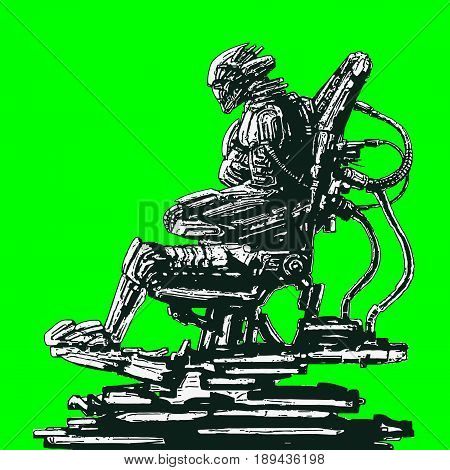 Alien astronaut sits in suit on iron chair. Science fiction original character. Vector illustration.