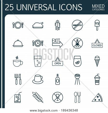 Meal Icons Set. Collection Of Alcohol Forbid, Pepperoni, Coffee Cup And Other Elements. Also Includes Symbols Such As Pizza, Closed, Bbq.