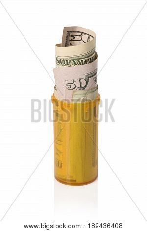 Money Rolled Up In Prescription Container - Upright