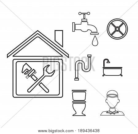 sketch contour house with wrench cross inside and icons plumbing outside vector illustration