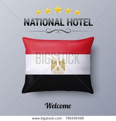 Realistic Pillow and Flag of Egypt as Symbol National Hotel. Flag Pillow Cover with Egyptian flag